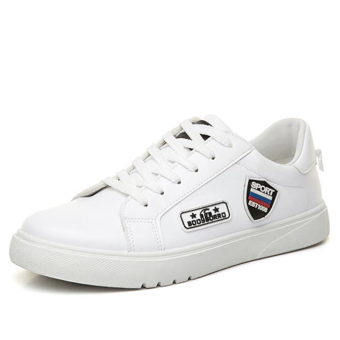 Casual skate qualité cuir Mocassins Baskets Blanc Hommes Haute de Chaussures Hrq7H