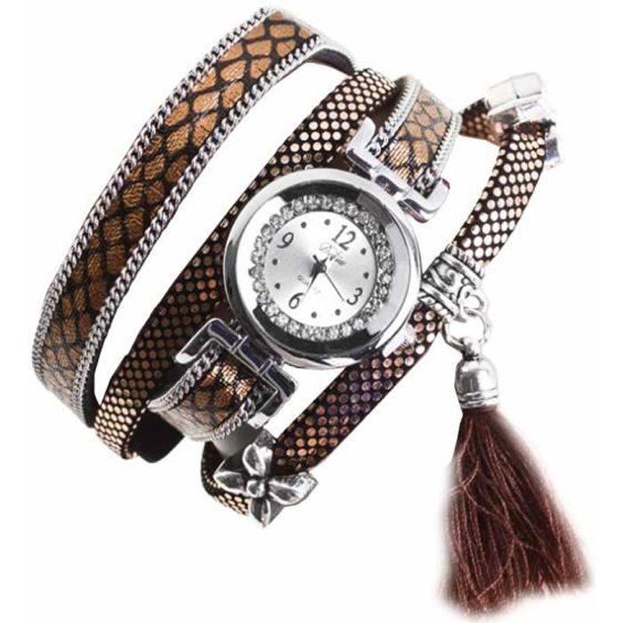 e0333733b2b Montre bracelet Bijou femme Cuir retourné Coton Femme Doré 2 rangs Koda  Rond chiffres arabes Fermoir fantaisie