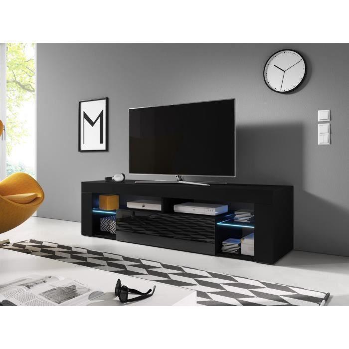 Everest Meuble Tv Design Noir Mat Avec Noir Brillant Eclairage A La