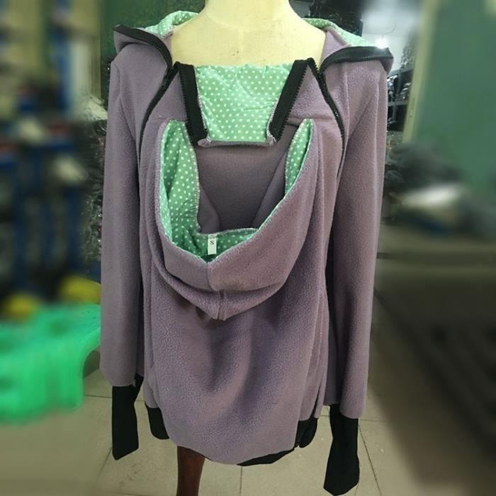 Porte bébé violet et vert Trois-en-un mère multifonctions Kangourou Zipper  Hoodie Taille  M, Poitrine  90-93cm, 70-72cm, Hanche  7ec707c5f54