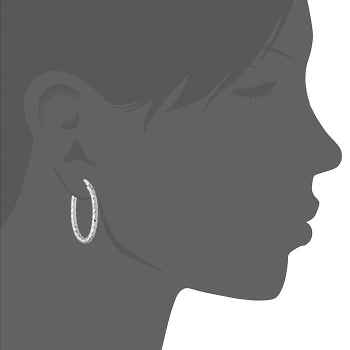 Ril1316w - Boucles Doreille Femme - Or Blanc 375-1000 (9 Cts) 1.0 Gr - Verre HFVPO