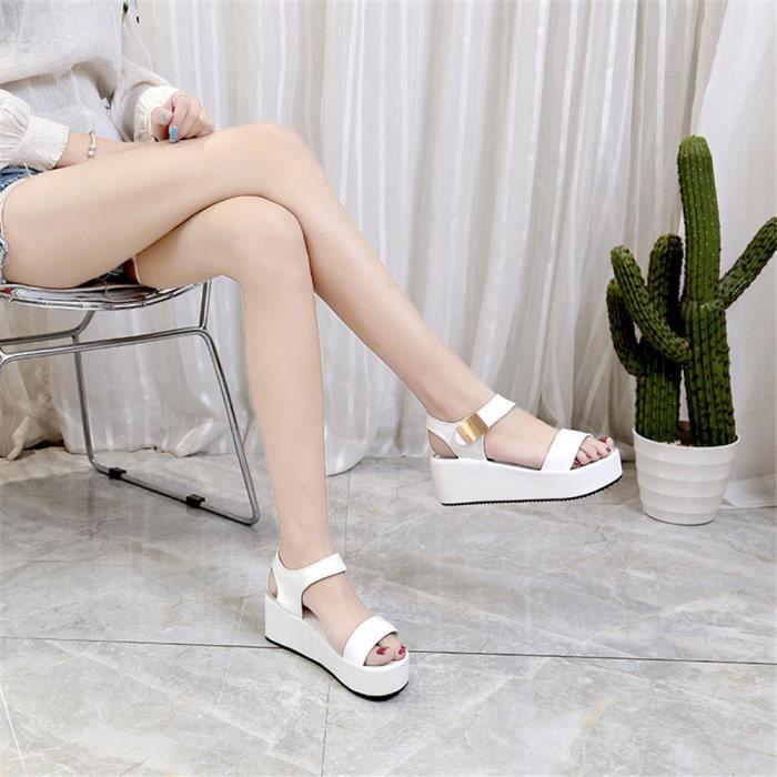 Bas Spartiates Nowonie Femmes Chaussures Des Dames Blanc Peep toe Sandales D'été Tongs 00qZgf