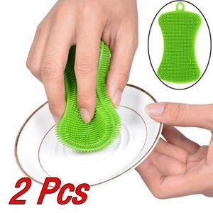 ÉPONGE VAISSELLE 2Pcs Silicone vaisselle lavage éponge éponge cuisi