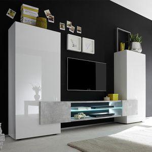 MEUBLE TV Ensemble meubles TV blanc laqué brillant et béton