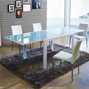 TABLE À MANGER SEULE Table à manger design extensible verre et blanche
