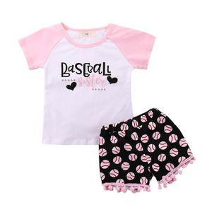 e40c8097b446f Ensemble de vêtements 2pcs bébé tout-petits enfants filles Letter Set Vê ...