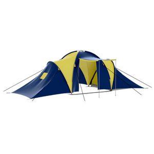 TENTE DE CAMPING Tente dôme familiale 9 places bleue et jaune