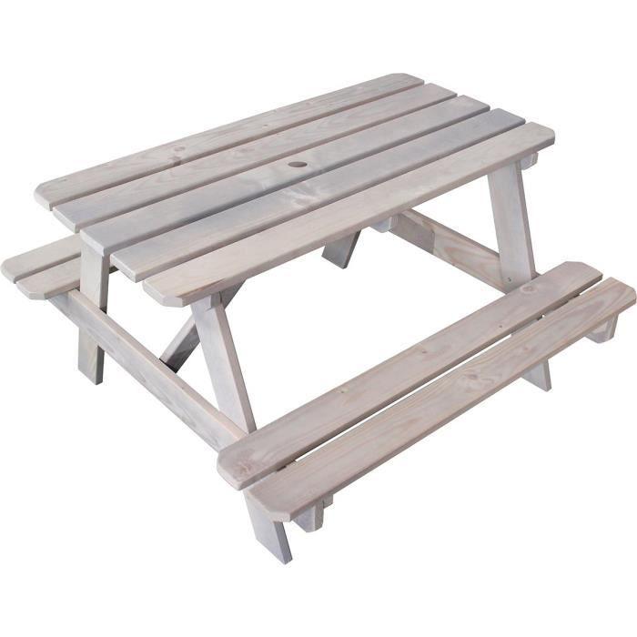 SOULET Table de jardin enfant / Pique-nique en bois taupe - Achat ...