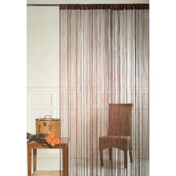 BRISE Rideau de Fils Mercerisés - Marron Taupe - H 90 x L 240 cm
