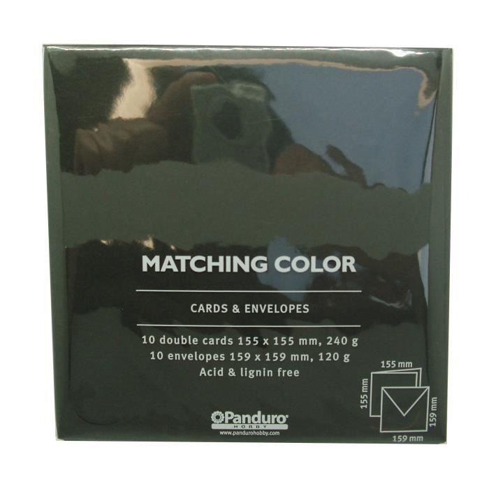 PANDURO Enveloppes Cartes Noir x10 - Carrées pré pliées - Poids 240 g - 155x155 cm