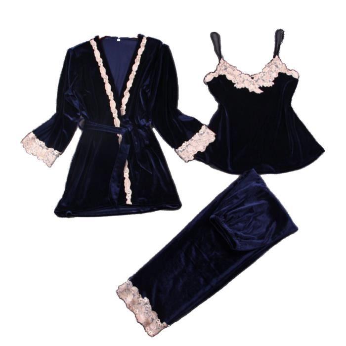 en 3 pièces pour sexy chemise flanelle pyjama velours chic nuit en rrzXdq