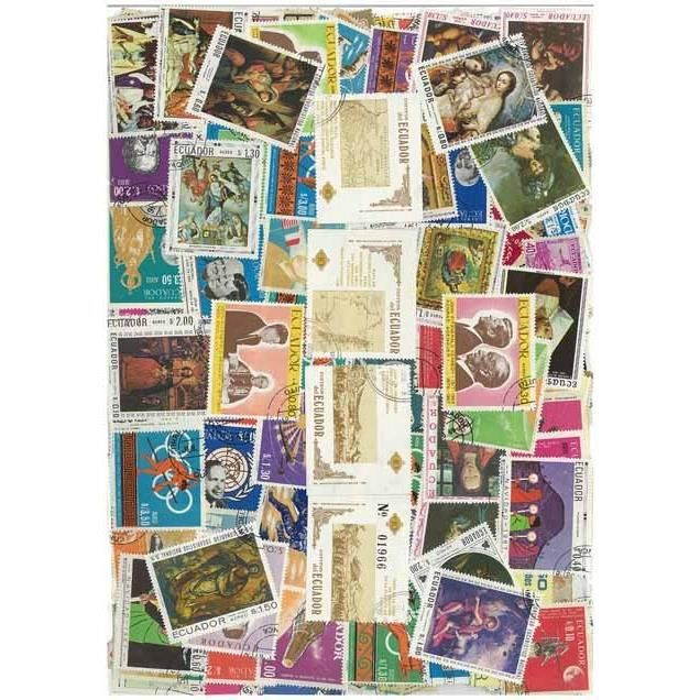 TIMBRE Equateur -  100 timbres collection différents o…