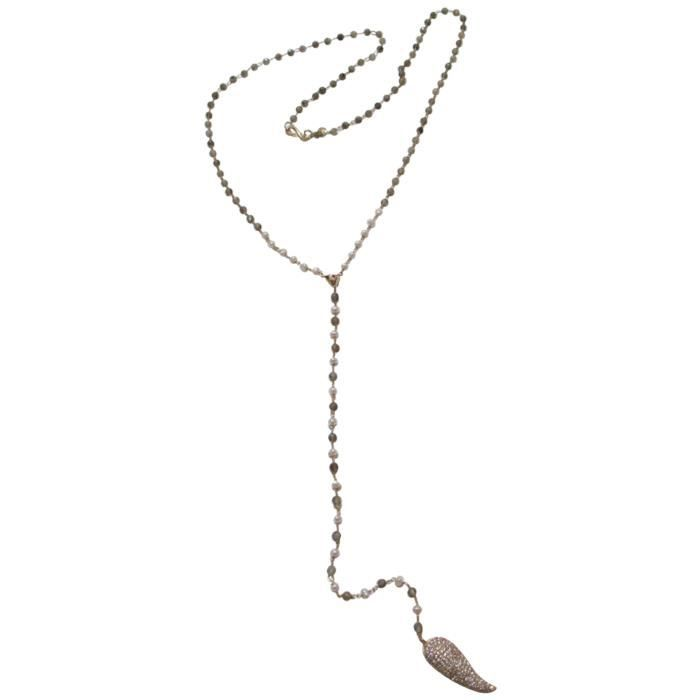 Tai Charm Beaded Lab Y-shaped Necklace, 24 DQM8G