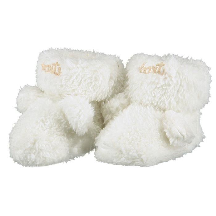 81182a860834e BARTS - Chaussures naissance en fourrure polaire blanc ivoire bébé fille du  0 au 6 mois Barts