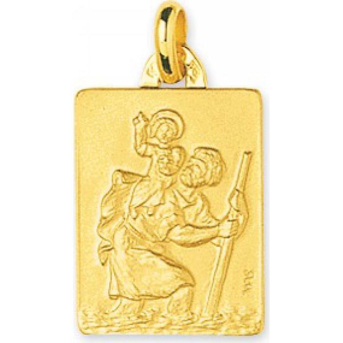Médaille femme or Saint Christophe rectangle Murat Paris