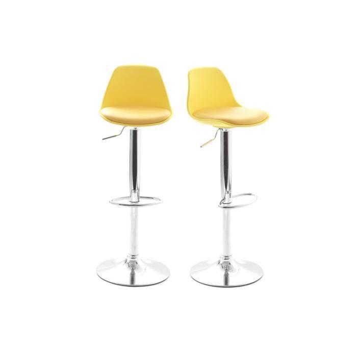 Lot de 2 tabourets de bar design jaunes steevy achat - Tabouret de cuisine design jaune ...