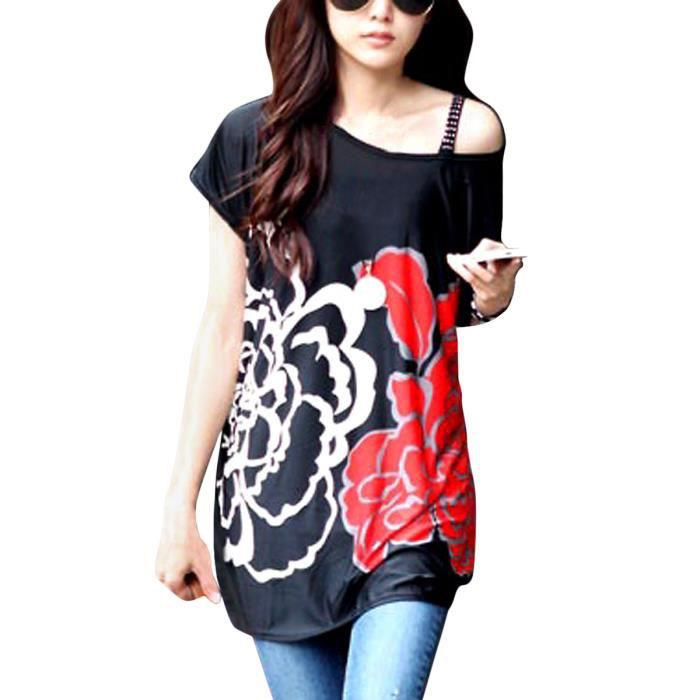 f5ff7de73858 Femme Elegant Tee-Shirt avec Dessin Fleur Impri... Noir-Rouge-Blanc ...