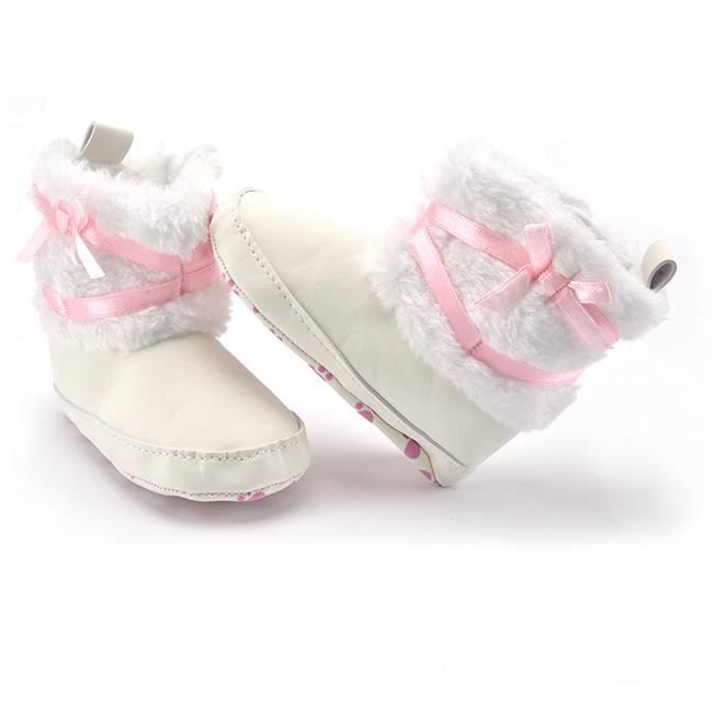 Chaussures de bébé Automne et hiver Garde au chaud Bébé Loisirs Bottes de neige-Blanc