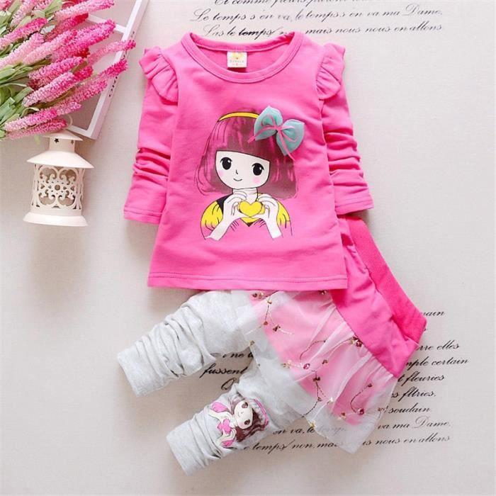 3dd7973290264 2016 coton fixé vêtements bébé mode printemps filles beauté imprimé chemise  + costume Pantskirt mettre des vêtements pour enfants 4