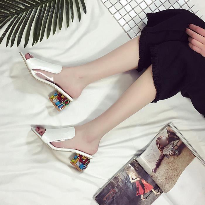 Mode strass talons épais pantoufle femmes sandales parti tong flop chaussures @WH
