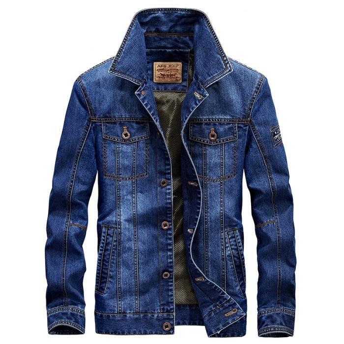 Blouson homme coton vêtements denim manteau jacket mode casual veston  masculin pardessus 15de78773b14