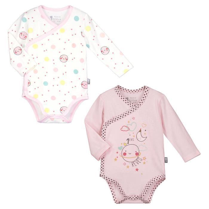 6fa40ceb856d Lot de 2 bodies manches longues bébé fille Jolie Planète - Taille - 1 mois  (56 cm)