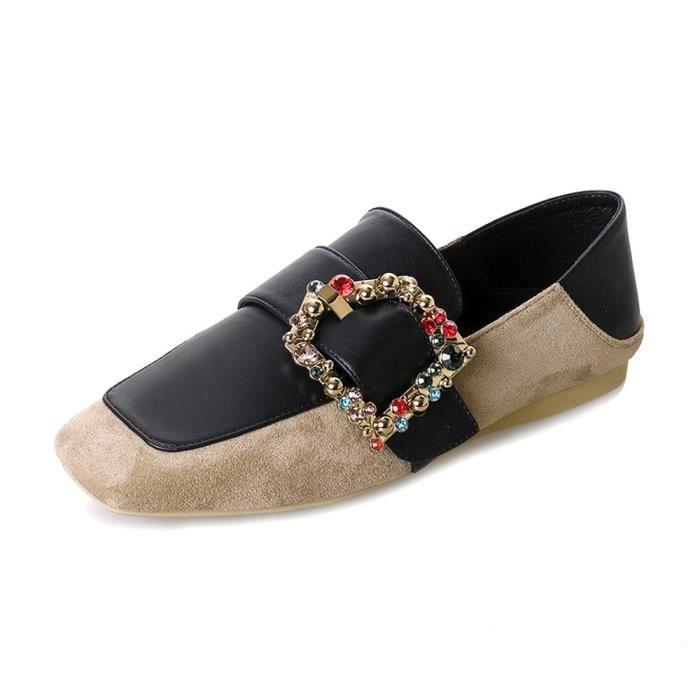 Femmes Flats Mesdames Ceinture Confortable Cristal Chaussures Soft Slip-On Décontracté Bateau Chaussures @XMM80111537KH iVJN8iD