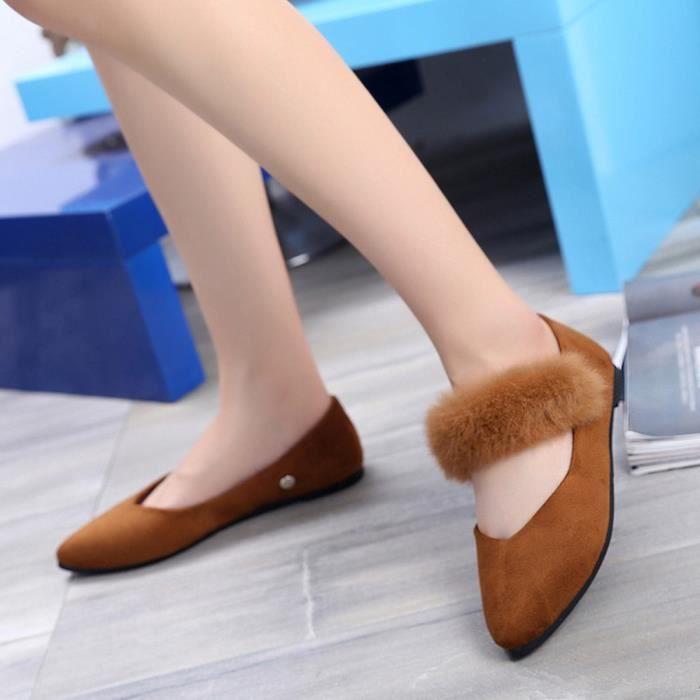 En Peluche Ladise Chaussures Décoration De Plates Toemarron Benjanies Simple Pointu Femme wYWttEqr