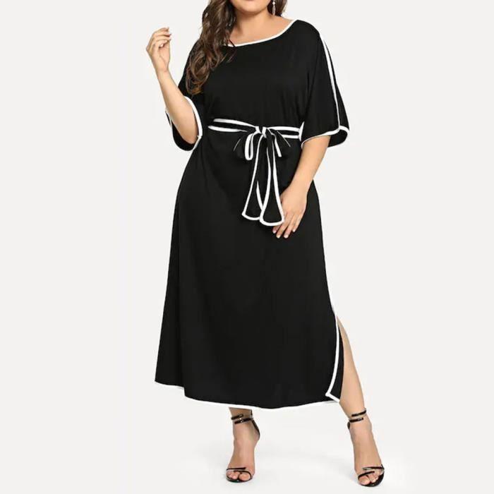 renommée mondiale plus grand choix ramassé Robe mi-longue Femmes grande taille à manches courtes Patchwork Mi-mollet  Robe de soirée Robe @Noir