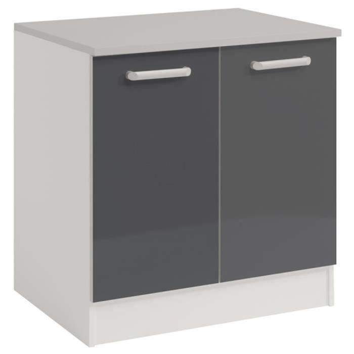 meuble sous evier avec 2 portes coloris gris dim 80 x 60 x 86 cm