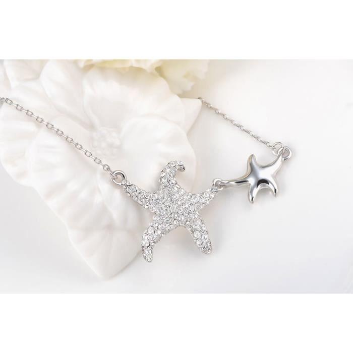 Bijoux Fashion Plaqué Double Starfish Collier Pour Les Femmes De Soirée De Mariage