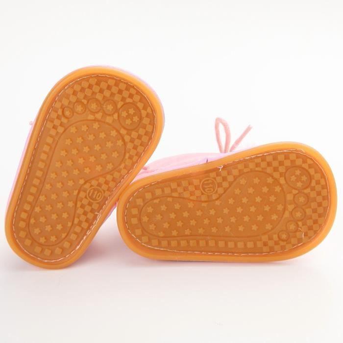 Chaud bébé tout-petits garçons To rose-rouge Lrose-rouge L ison Bottines Chaussons Polaires Lit Chaussures anti-dérapants 0-18