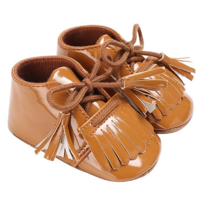 BOTTE Bébé nouveau-né Tassel chaussures à semelle souple en cuir Garçons Filles Toddler Crib Prewalker@BrownHM