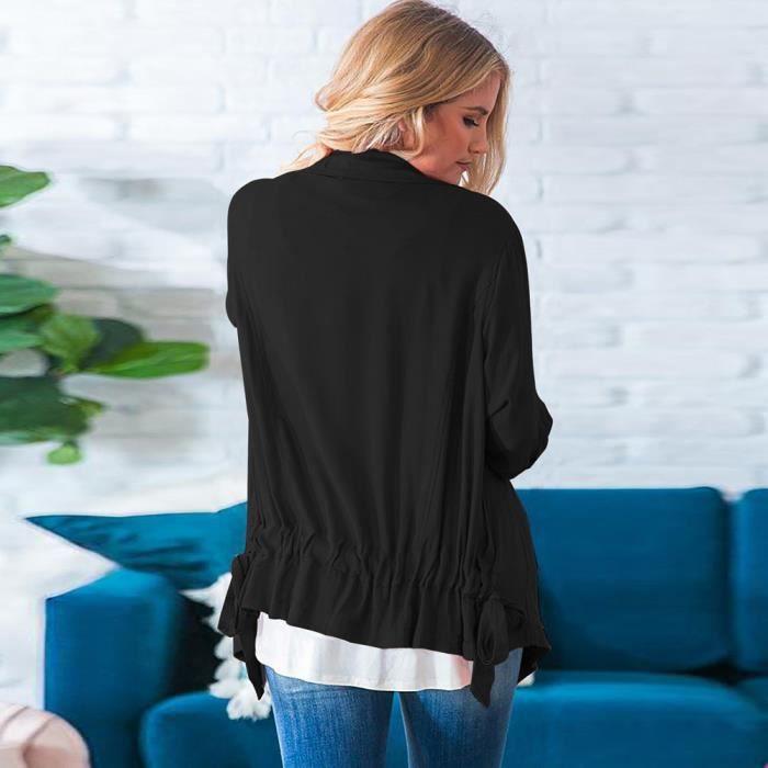 Tops noir Manteaux Manteau Cardigan Femmes Parka Manches Longues Zipper qx8UP04