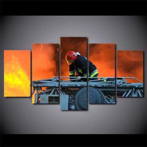 TABLEAU - TOILE No Frame(pasétirépasencadré)5 Pcs Pompier Hero