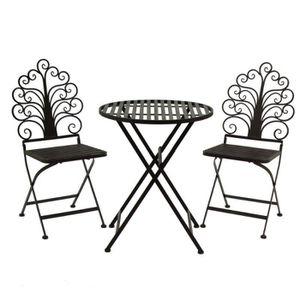 Ensemble de jardin table 2 x chaise fer ancien-Style Salon ...