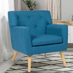 FAUTEUIL Fauteuil scandinave en tissu bleu canard 77,000000