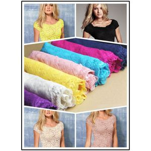 T-SHIRT - TOP SEXY Sexy Floral Full Lace Manches Courtes T-shirt Exte