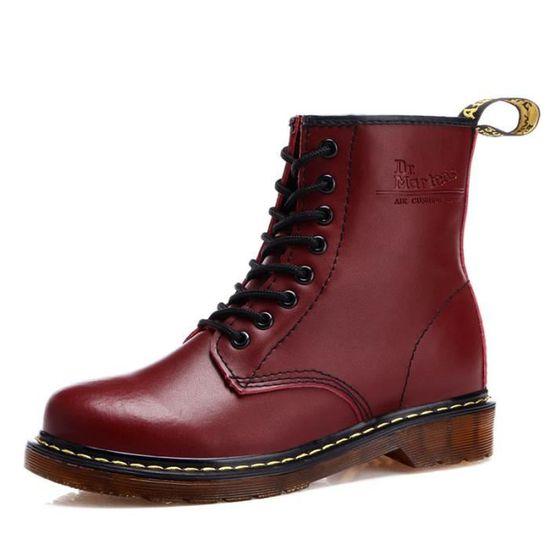 c90d91bd096341 Couple Martin Hommes Cuir Chaussures Bottes Fem... Noir Rouge ...