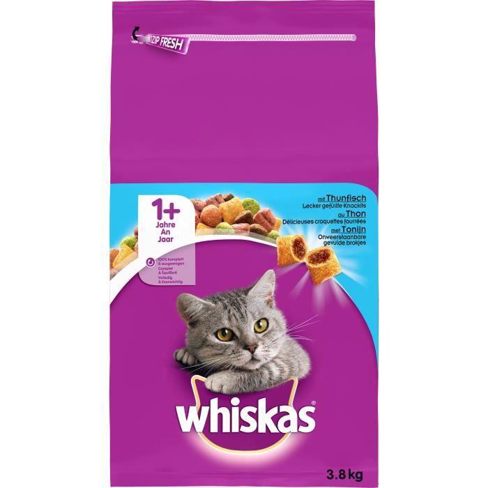 WHISKAS Croquettes au thon - Pour chat adulte - 3,8 kg