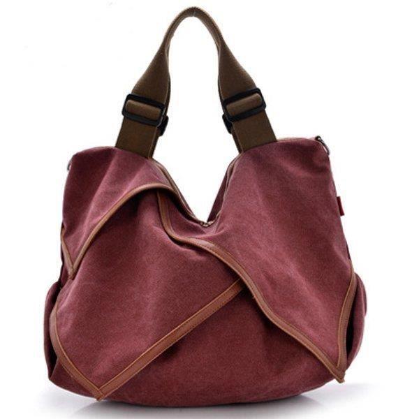 SBBKO3471Toile portable tote sacs à main fleur design épaule Sacs bandoulière sacs big bag bordeaux S