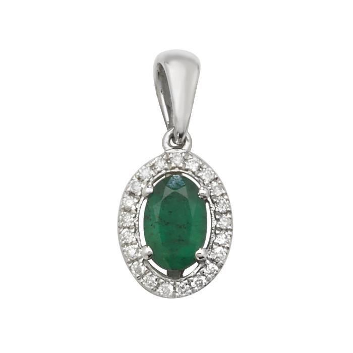 Pendentif Femme Or Blanc 375-1000 et Diamant Brillant 0.09 Carat HI - I1 avec Emeraude - 17mm*8mm 29573