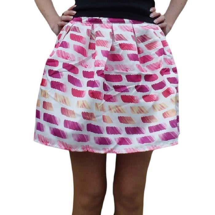 ce34195e2ffc Mini jupe rétro satinée rose