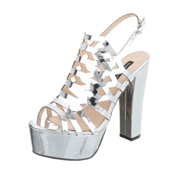 efe2dc08851 Chaussures femme sandale à talons hauts Plateau High Heels argent 37 ...