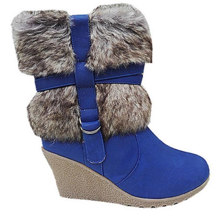 Fashionfolie888 - Femme Bottes Bottine talon compensées Fourré Fourrure fur Cheville Court SM58-1 BEIGE 3xx2d1