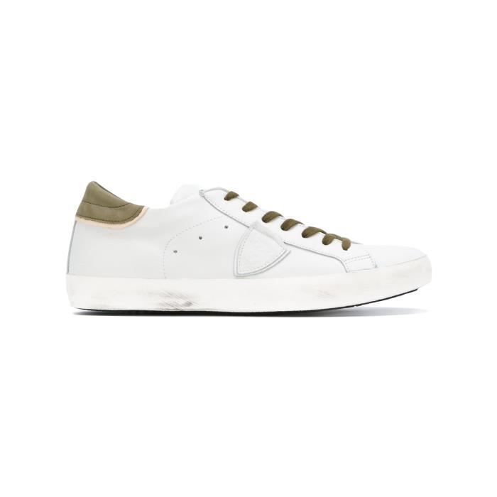 PHILIPPE MODEL HOMME CLLUVB08 BLANC CUIR BASKETS