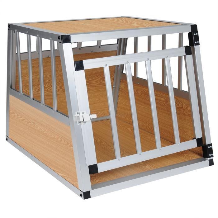 Cage de transport pour chien en aluminium,Box de transport pour  animal,69x54x51cm environ,Bois clair et Argent 4d6162ff3741