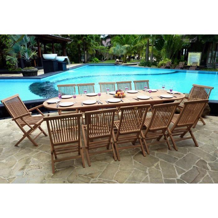 Salon en teck pour le jardin, table grande taille 3 mètres - Achat ...