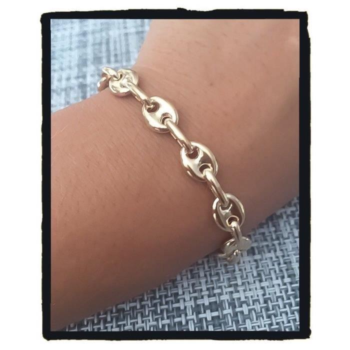 Bracelet Maille Grain De Café Plaqué or 18 Carats Bijoux femme