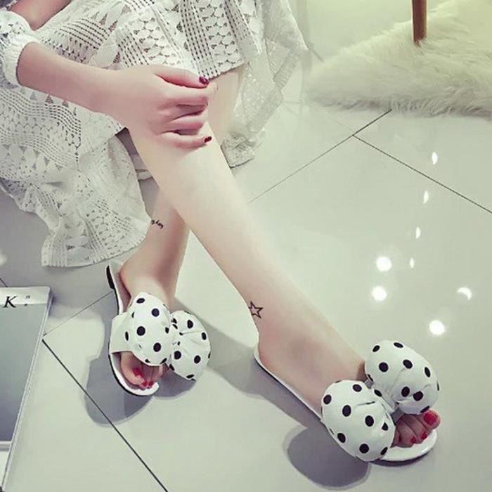 sandales femmes de mode coréen doux mignon point bowknot été plate BgvhyJbZ